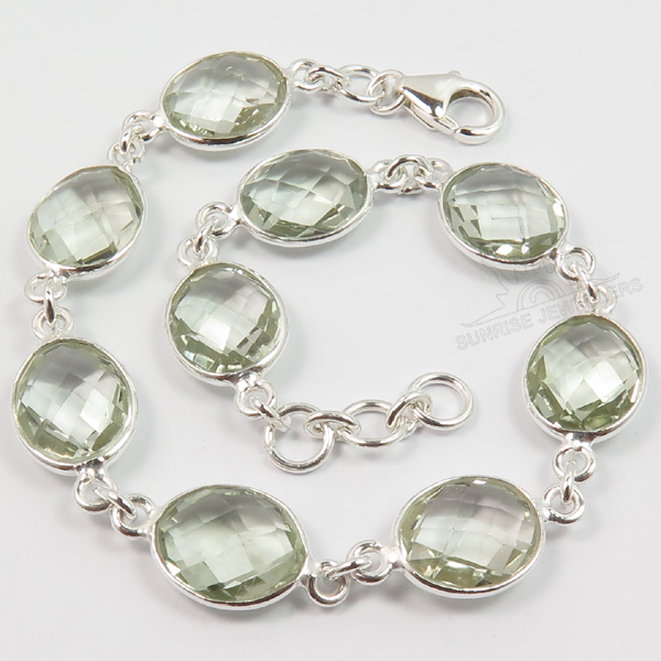 925 Sterling Silver Jewelry Natural Green Amethyst
